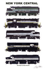 """New York Central Freight Lightning Stripes 11""""x17"""" Poster Andy Fletcher signed"""