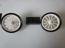 Lego 2 große weiße Speichenräder mit Achsstein für Oldtimer