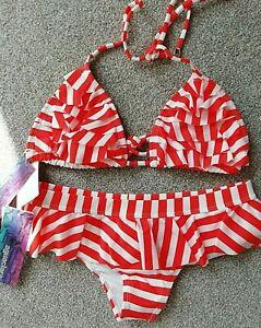 Aguaclara size 8/10 halterneck tie bikini set orange padded frill BNWT