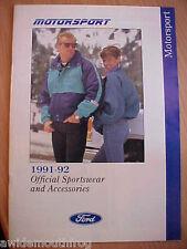 Ford Motorsport 1991-1992 Official Sportswear & Accessories Brochure