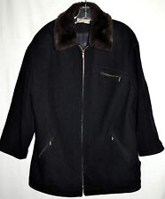Forecaster of Boston Black Wool Womens Jacket with Faux Fur Collar Sz 10 Fits L