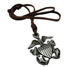 US EAGLE Vintage Men Women Fashion Pendant Brozen Charm Brown Leather Necklace