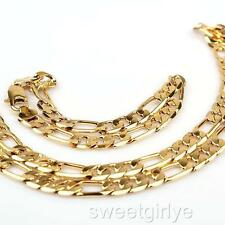 24K Yellow Gold Filled Necklace Bracelet Set Figaro Curb Link Chain 8mm