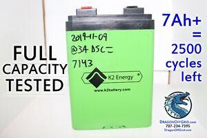 24V 7Ah Lithium Battery FULLY TESTED 75% life, BMS, K2 Energy K2B24V10EB LiFePO4