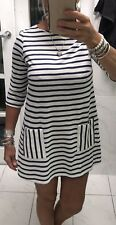 Top Shop Striped Navy & White Knit  Dress Size 10 Tooo CUTE