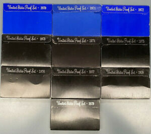 1970 1971 1972 1973 1974 1975 1976 1977 1978 1979 US Mint Proof Sets - 10 Sets