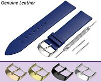 Fits CASIO Watch Blue Genuine Leather Watch Strap Band for Buckle Clasp 12-24mm