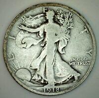 1918 Walking Liberty Silver Half Dollar Coin 50c US Coin VG Fifty Cent Coin