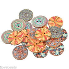 50pcs Round Sewing Ethnic Wooden Buttons 2-hole Scrapbooking Mixed 2.5cm