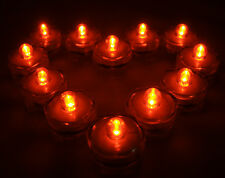 Qty 12 Orange Led Halloween Underwater Tea lights TeaLight no flame Us Shippe