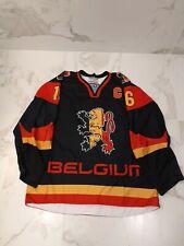 "IIHF TACKLA  BELGIUM GAME WORN USED BLACK JERSEY #16 DE SMET ""C"""