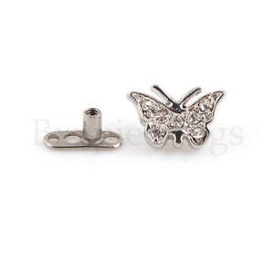 14G G23 Titanium Base Butterfly Steel Dermal Anchor Top Piercing Jewelry