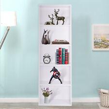 White Bookcase Shelf Tall Wooden Shelves Bookshelf Storage Shelving Display Unit