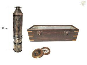"27"" DF Victorian Marine 1915 Sunshade Telescope & 2"" Compass Combo with Wood Box"