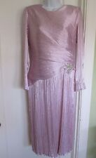 Vtg Morton Myles lavender pleated wedding dress beads pearls Classic Elegance