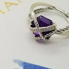 David Yurman Sterling Silver Amethyst Cable Wrap Diamond Ring Band Size 6