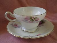 Saji Fancy China, Hand Painted Cup & Saucer, Vintage, Occupied Japan, Floral