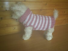 "NEW HAND KNITTED  DOG COAT / JUMPER PINK/ WHITE STRIPE  15 "" LONG WESTIE TERRI"
