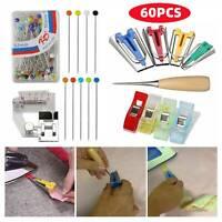 60pcs/Set Fabric Bias Tape Maker Kit for Sewing Awl Adjustable Binder Foot Tools