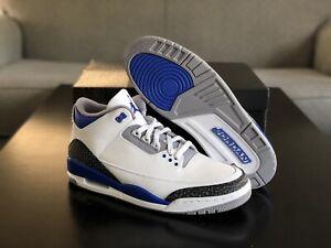"New Men's Size 12.5 Nike Air Jordan 3 ""Racer Blue"" White Cement CT8532-145 Shoes"