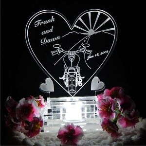 Motorcycle Heart Lighted Wedding Cake Topper Acrylic Cake LED Biker Personalized