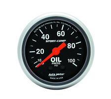 "Autometer 3321 Sport-Comp 2-1/16"" Mechanical 52mm Oil Pressure Gauge 0 - 100 Psi"