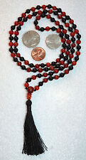 Gorgeous Bhakti Black Red Onyx 6mm 108+1 Hand Knotted Karma Beads Mala Necklace