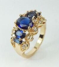 Para Mujer Chapado en Oro Anillo De Cristal Claro & Azul tamaño de Reino Unido N