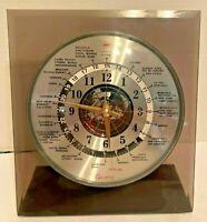 Vintage Mid Century Modern Verichron Quartz World Clock Red Airplane Second Hand