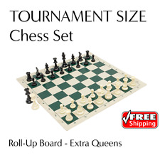 2 x Large Chess Sets - Tournament Size Pieces + Roll Up Vinyl Boards - TWO SETS