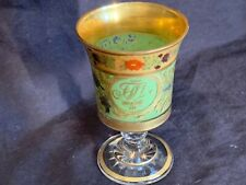 "Antique Imperial Russian wine glass gilt & painted monogram 5.5"" c1810 MUSEUM PC"