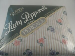 NIP VINTAGE LADY PEPPERELL Pink & Blue Flowers QUEEN FITTED SHEET NOS