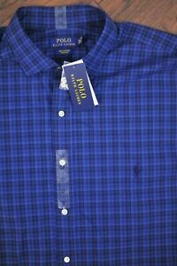 NWT Polo Ralph Lauren LS Button Front Shirt Blue Check Men's 2XLT