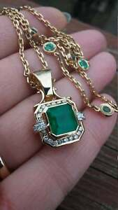 4.34ct Diamond Colombian Emerald Pendant Stunning 14KT Yellow Gold Over Necklace