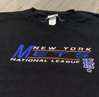New York Mets T Shirt Adult XXL Black MLB Baseball 90s Vintage USA