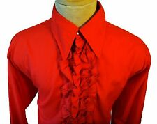 2xl XXL vintage tomato red tuxedo ruffle shirt 1960s 1970s pointy collar lounge
