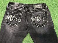 MISS ME Sunny Boot Gray Black Wash Denim Thick Stitch Low Rise Jeans sz 27 X 31