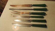 Jade Green Bakelite 3 pc Carving Set & Knives