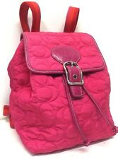 RARE Coach Pink & Orange Signature Quilted Backpack Limited Edition 5164