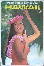 HAWAII THE ISLANDS OF Vintage 1970 Travel Tourism poster 25x40 NM Rolled