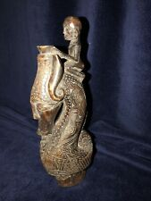 Antique Tribal Art Carved Wood Indonesia (Sumatra?)3 Figures On Seahorse Serpent
