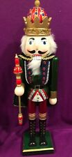 Nutcracker King Jumbo XL Large 22 in high Jewel Red Crown Green Suit Vtg