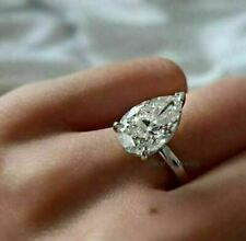 2.50 TCW Pear Moissanite Solitaire Engagement Wedding Ring 14k White Gold Over