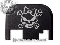 for Glock Rear Plate 17 19 21 22 23 27 30 34 36 41 Blk G1-4 Lady Skull Cross 2