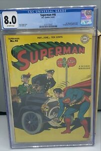 SUPERMAN #46 CGC 8.0 1947 : MR MXYZTPLK . FIRST MENTION OF SUPERBOY IN TITLE
