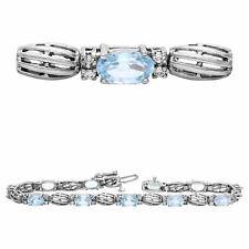 14k White Gold 5.37ctw Aquamarine & Diamond Scalloped Bracelet