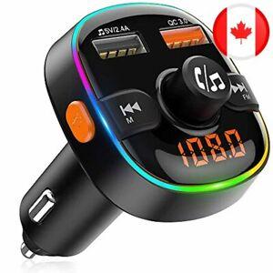 FM Transmitter for Car Bluetooth 5.0, TEUMI 7 Colors Light Dual USB 2.4A & QC3.0