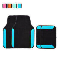 Car Floor Mats Universal Blue Black Durable Non-Skid For Honda Toyota Ford 4 PCS