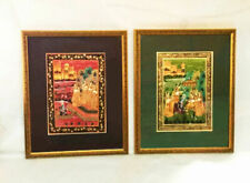 Pair of Indian paintings on silk. Radha-Krishna. Krishna and the Braj milkmaids.