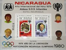 NICARAGUA 1980 Block 110 A ICY Jahr des Kindes UNO Olympics Moscow Children MNH